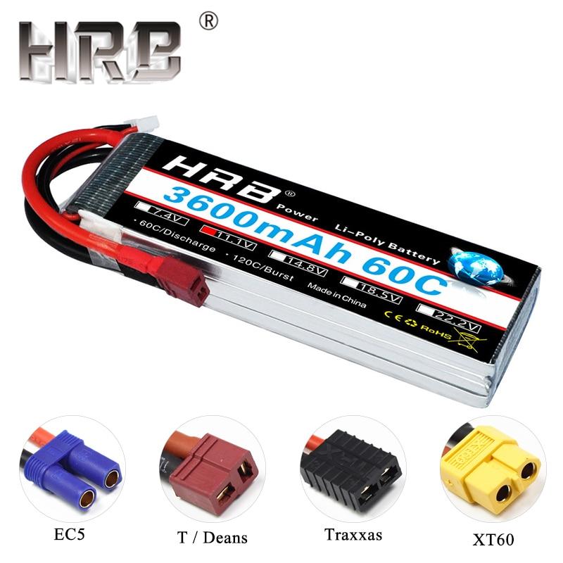 HRB RC Lipo batterie 3S 11.1V 3600mAh 60C XT60 T Plug pièces pour Traxxas hélicoptère avion Drone jouets EC5 femelle mâle connecteurs