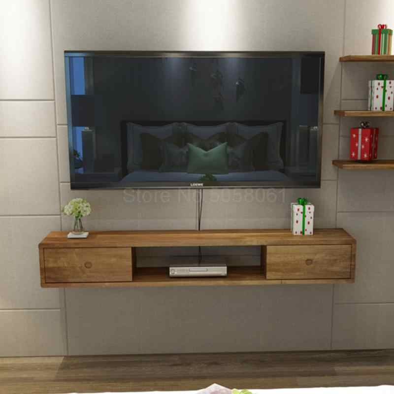 Solid Wood Wall Mounted Tv Cabinet Nordic Simple Bedroom Living Room Hanging Wall Set Top Box Rack Tv Cabinet