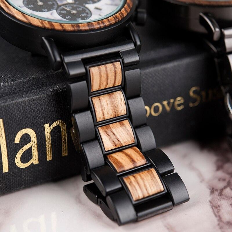 Drewniany zegarek Bobo Bird Marble P09-4 pasek
