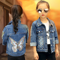 2016 new spring autumn children clothing child clothes girl outerwear coat girl's embroidered  jacket denim kids tops jeans wear