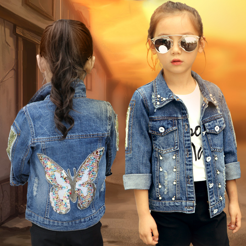 2018 Baby Girls Denim Jacka Cardigan Coat Barn Jean Outwear Butterfly Broderi Sequins Barnkläder Vår Kid Kläder