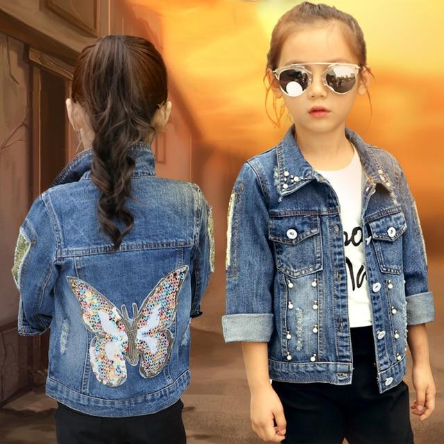 2018 Baby Girls Denim Jacket Cardigan Coat Child Jean Outwear
