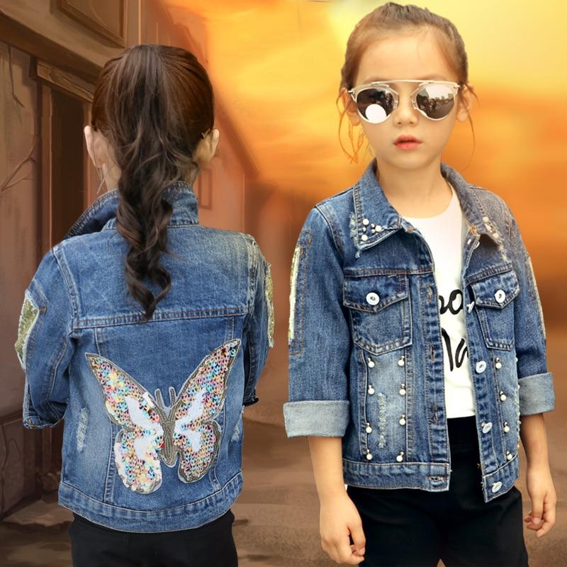 3d553191 2018 Baby Girls Denim Jacket Cardigan Frakk Barn Jean Outwear Butterfly  Broderi Sequins Barn Klær Vår Kid Klær