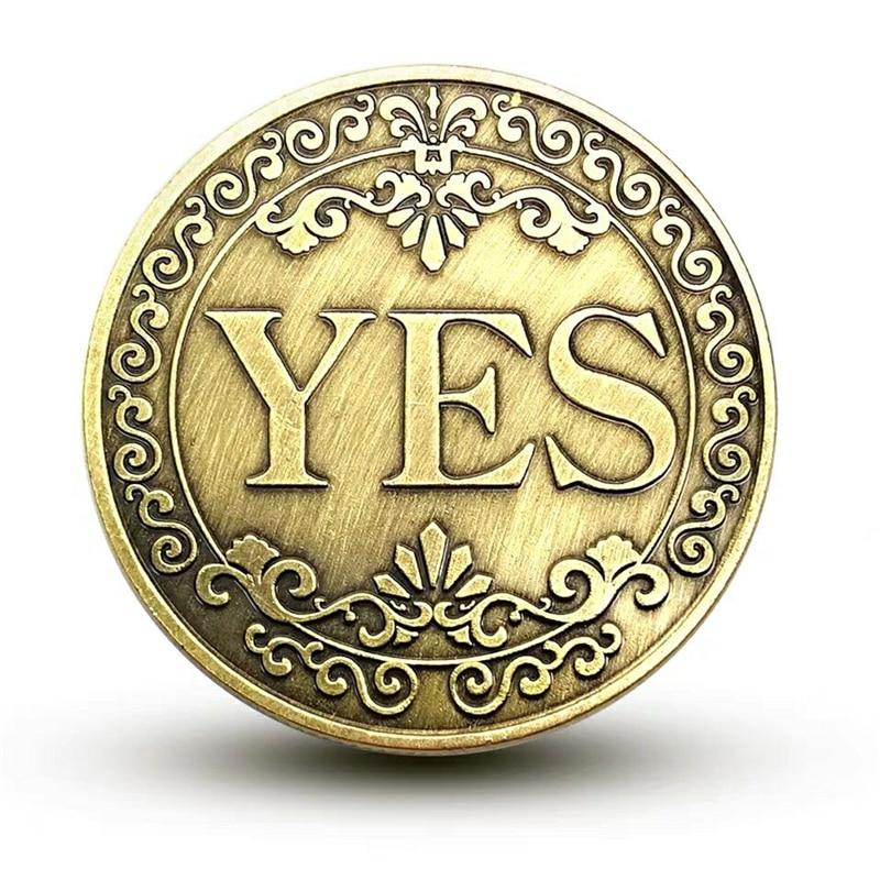 Да или нет памятная монета Цветочная да нет буквы монета классические Волшебные трюки игрушки крупным планом магический реквизит шоу инстр...