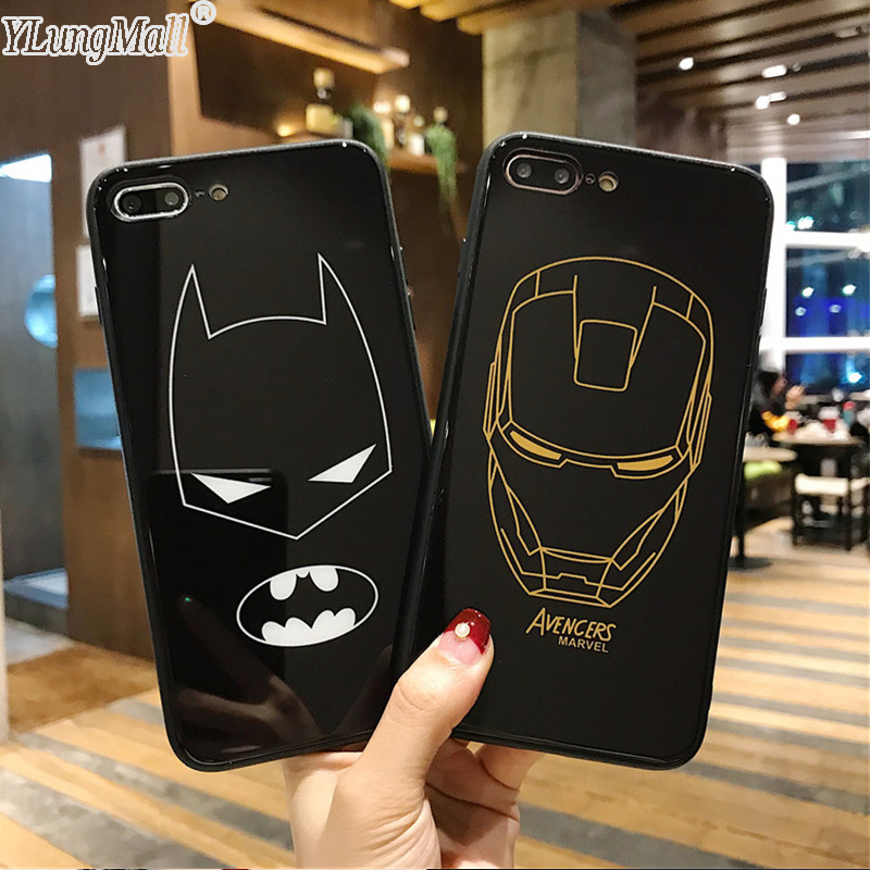 YLungMall Luxury Tempered Glass Case for iPhone 7 Case Batman Ironman Hard Back Cover Fundas for iPhone 6 6s 8 Plus X Phone Case