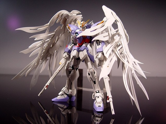 New MG Wing Gundam Action Figure MG028 Zero Wing Fighter Anime Robot 1:100 Model +Angel Wing 2