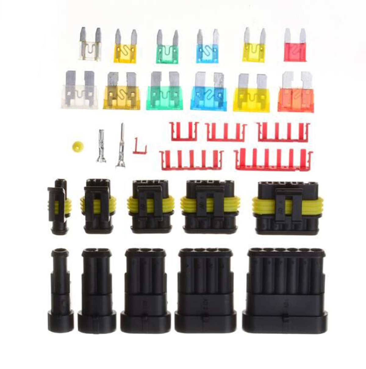 1/2/3/4/5/6 Pin Way Waterproof Electrical Wire Connector Terminals + Automotive Car Blade Fuses with Case 1 sets superseal amp 1 2 3 4 5 6 pin female male waterproof electrical wire cable automotive connector car plug