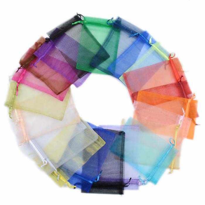 Organza Permen Kotak Tas untuk Tamu Kantong Perhiasan Pernikahan Nikmat Hadiah Ulang Tahun Perlengkapan Pesta Kerajinan DIY Baby Shower Solid WH