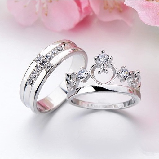 pair white gold filled 925 silver wedding rings set his and her promise ring couple wedding - White Gold Wedding Rings