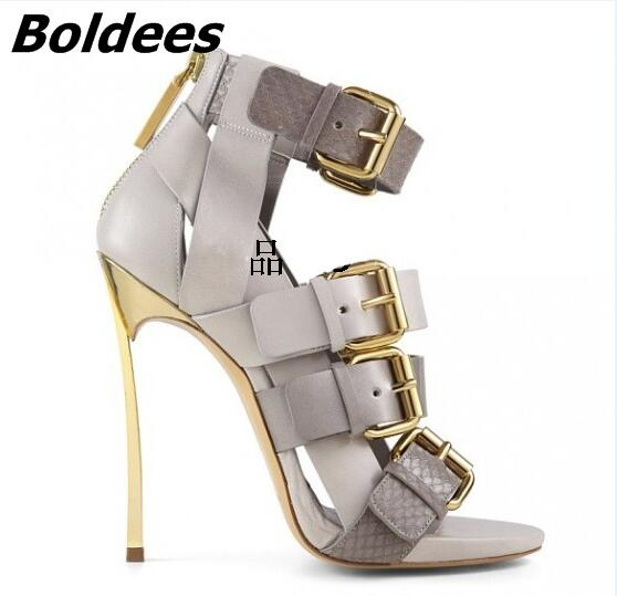 Groovy Grey PU Leather Metal Heel Sandals Stylish Snakeskin Matched Buckles Decoration Stiletto Heel Dress Sandals Best Selling fashion women s sandals with metal and stiletto heel design