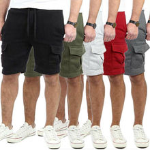 Stylish Hot Sale Men Overalls Solid Pockets Lace-up Shorts M