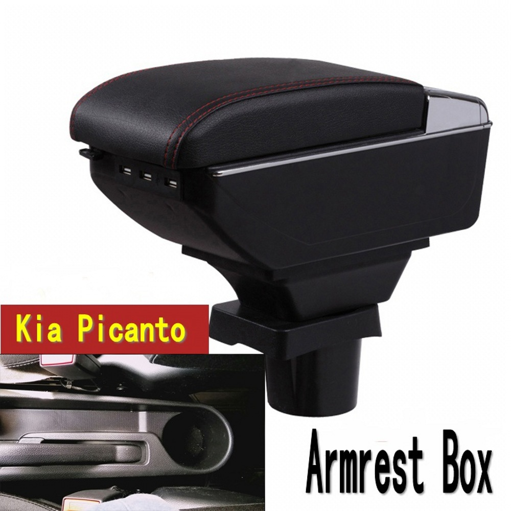 For kia picanto Armrest box central Store content box with cup holder ashtray with USB interface universal leather car armrest central store content storage box with cup holder center console armrests free shipping