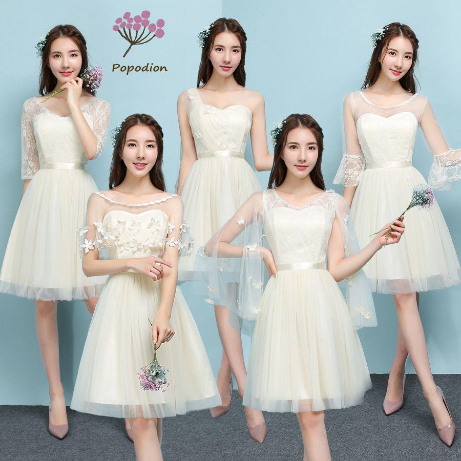 2018 Popodion Champagne Color Bridesmaid Dresses Sister