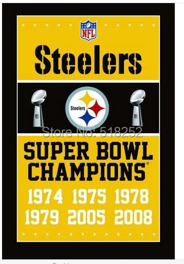 Pittsburgh Steelers Super Bowl Champions Flag 3x5 FT 150X90CM Banner 100D Polyester Custom flag grommets 6038, free shipping