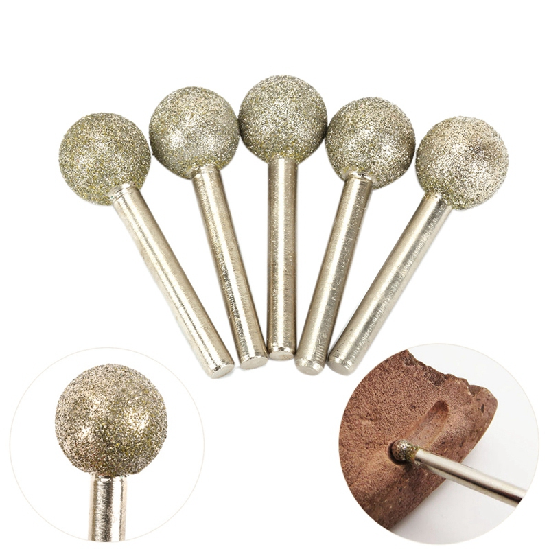 5Pcs 20Mm Head Dia 6Mm Shank 60# Spherical Diamond Coated Grinding Head Shape Engraving Abrasive Burrs Rotary Tools