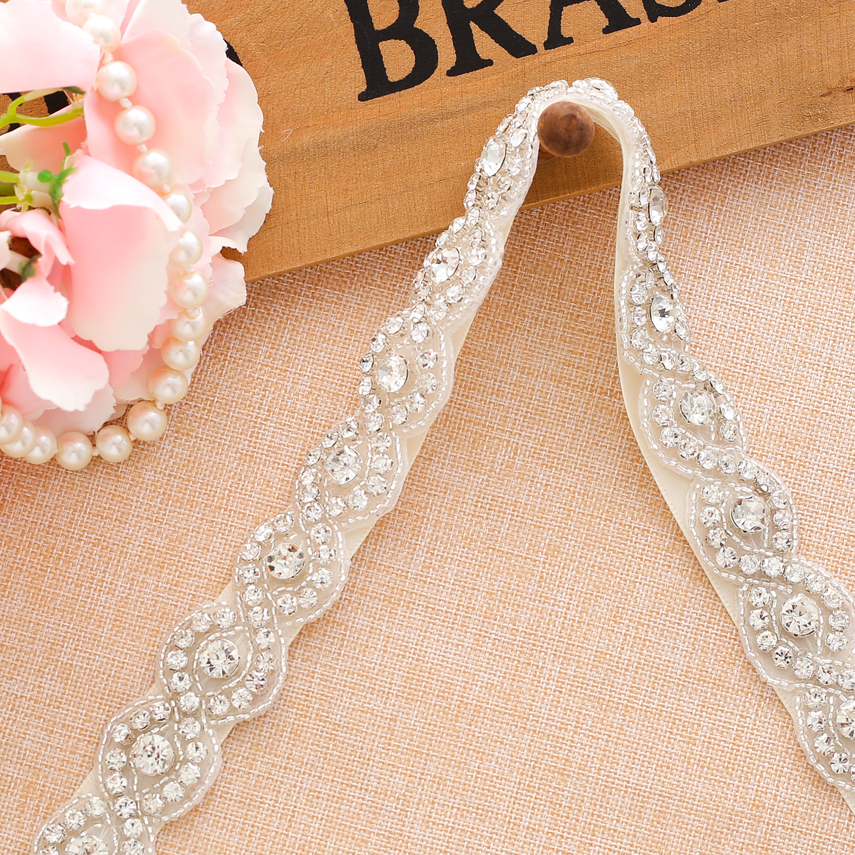 Crystal  Wedding Belt Handmade Pearl Sliver Bride Belt Rhinestone Wedding Belt For Wedding Dress A108S
