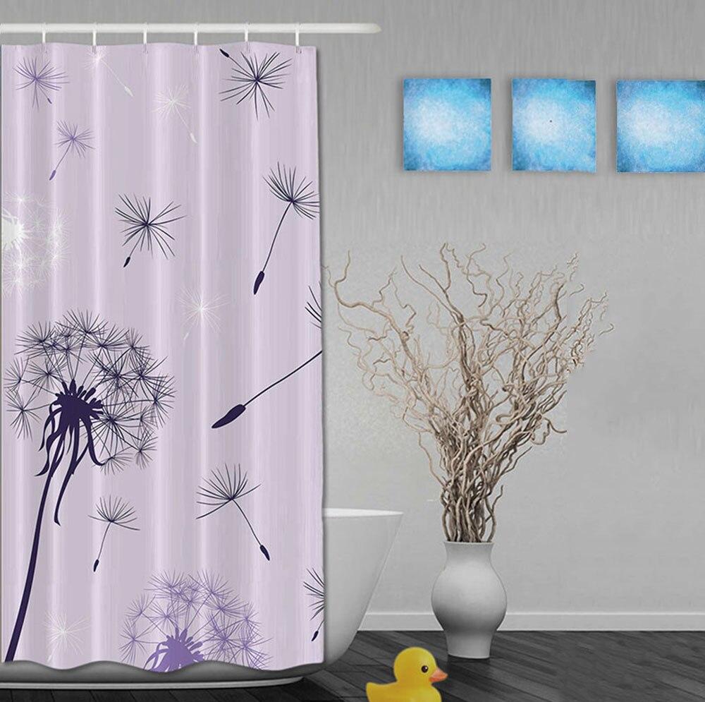 Mukautettu violetti voikukka ja tähdet Morden-tyylin suihkuverhot - Kotitaloustavarat - Valokuva 2