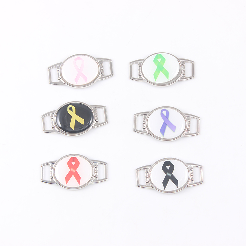 12Pcs Fashion Jewelry Colorful Ribbon Logo Charm For