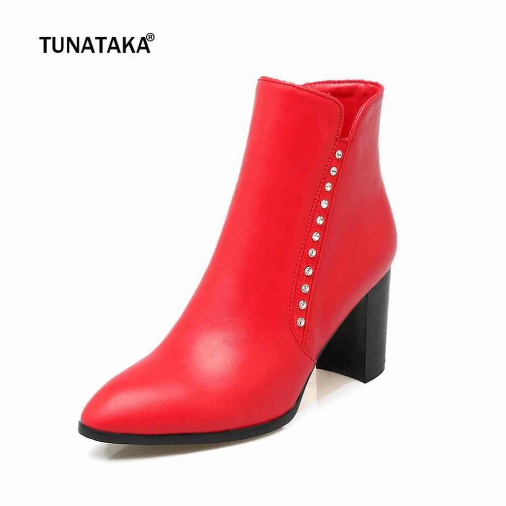 Kadın Ayak Bileği Moda Çizmeler Yan Fermuar Sivri Burun Kalın Yüksek Topuklu Rahat rahat ayakkabılar Kadın Kırmızı Siyah Kayısı Beyaz