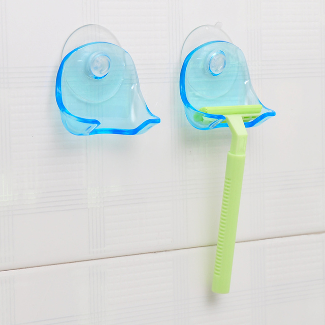 1 pezzi Clear Blue Plastica Super-Ventosa Titolare Rasoio Rasoio Cremagliera Bag