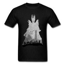 цены на Lord Of The Rings Sauron Contourist SILHOUETTE Men Tshirt Printing TV Moive Design Fashion New T Shirt For Men Love Day Custom  в интернет-магазинах