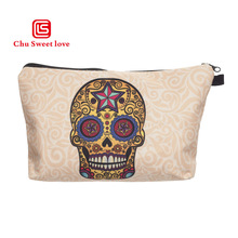 Print Skull Cosmetic Bag Women Makeup Bag Polyester Pillow Zipper Clutch Portable Fashion Organizer Travel Bag Cosmetic Cases недорого