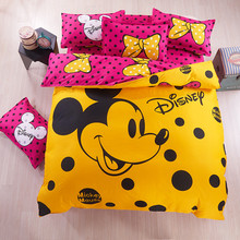Disney Mickey mouse yellow Bedding Set Duvet Cover pillowcase red Minnie mickey cartoon Children Adult bed set Home textile gift