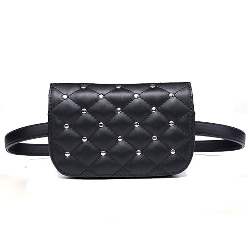 48d4b976c5e US $10.92 58% OFF|Mihaivina fashion black leather fanny pack women waist  pack casual small waist pouch women leather waist bag rivets purse  bolosa-in ...