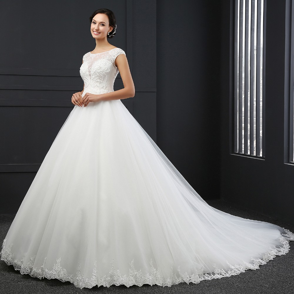 MZ-0031 New Arrival Princess Wedding Dress Custom Made Sequins Cap Sleeve Bride Dresses Tulle Wedding Dresses 5