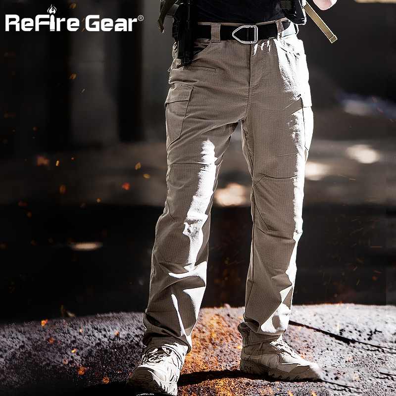 ReFire Gear M3 Waterproof Tactical Military Pants Men SWAT Special Army Combat Cargo Pants Multi Pocket Rip-stop Cotton Trousers