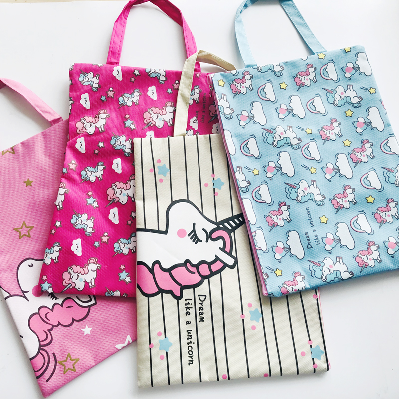 1X Cute Rainbow Unicorn A4 Canvas Oxford Document Bag Pen Bag Business Briefcase File Folder For Papers Student Stationery