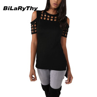 BiLaRyThy Summer Style Women S Casual O Neck Short Sleeve Slim T Shirt Hollow Out Off