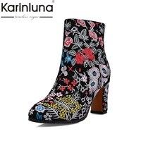 KARINLUNA Flores Estilo Étnico Bordado Vaca Camurça Couro Genuíno Tamanho Grande 34-43 Mulheres Sapatos de Salto Alto Tornozelo Sexy botas