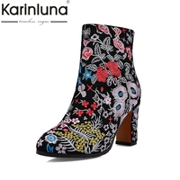 KARINLUNA Ethnic Style Flowers Embroidery Cow Suede Genuine Leather Large Size 34 43 Women Shoes Sexy