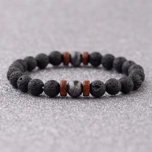 Image 2 - Amader Vintage Black Lava Stone Bracelets Men Meditation Natural Wood Beads Bracelet Women Prayer Jewelry Yoga Dropshipping