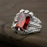 925 Sterling Silver Dragon Claw Red CZ Stone Mens Biker Punk Ring 8E006