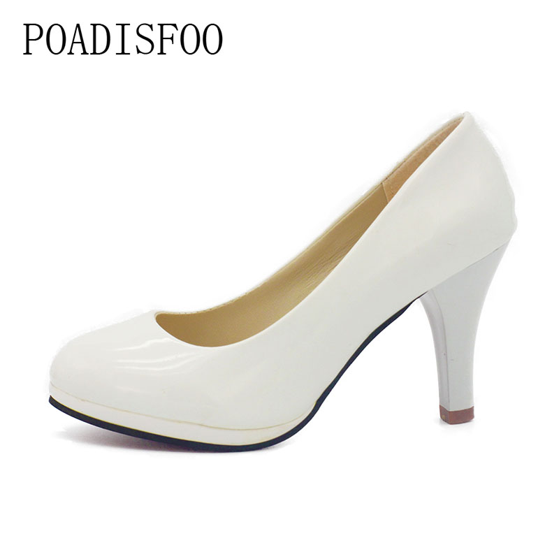 POADISFOO 2017 Classic Soft Flexible Office Pumps Round toe shoes White Red Med heels Pumps Party wedding shoes .DFGD-8807 переключатель задний shimano altus m310 7 8 скоростей цвет черный