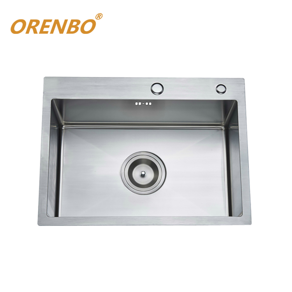 Handmade Kitchen Sink 55*45*21CM SUS304 Stainless Steel Brushed Single bowl kitchen sink With Drainer Without kitchen faucetsHandmade Kitchen Sink 55*45*21CM SUS304 Stainless Steel Brushed Single bowl kitchen sink With Drainer Without kitchen faucets