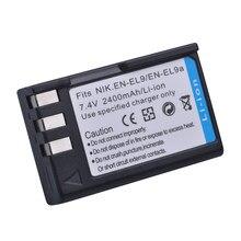 Batterie Akuu EL9, 2400mAh, EN-EL9 EN-EL9a, pour appareil photo Nikon EN-EL9a D40 D60 D40X D5000 D3000