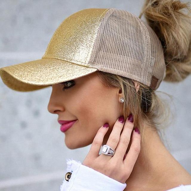 CC Ponytail Baseball Cap Women Messy Bun Baseball Hat Summer Mesh Trucker Hat Snapback Girl Glitter Ponytail Baseball Cap