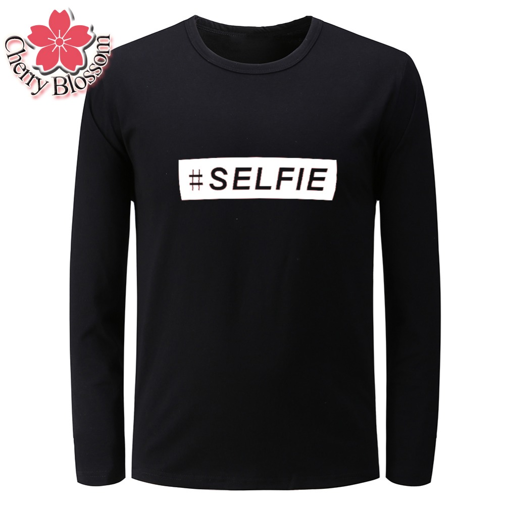 Cherry Blossom Men T Shirts Autumn Spring Male Long Sleeve O-Neck Tees Tops SELFIT Letter Printed Casual Slim T-Shirt Homme