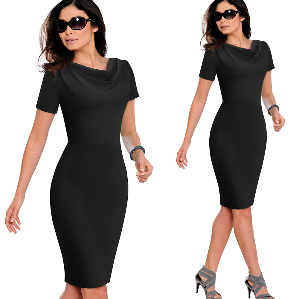 Nice-forever Women Vintage Wear to Work Elegant vestidos Business Party Bodycon Sheath Office Ruffle Female Dress B452 41