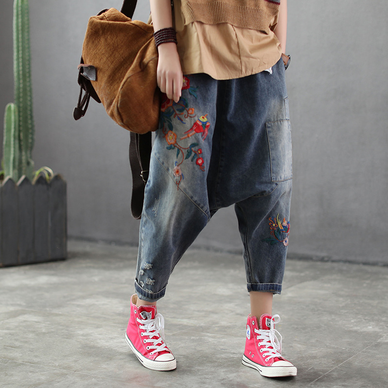 Embroidered Cross   jeans   2019 Women hip hop streetwear Baggy Harem   jeans   Boyfriend pants Wide Leg Drop Crotch Denim Bloomers