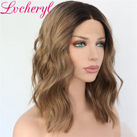 Lvcheryl Dark Roots Ombre Wigs for Women Short Wavy Hair Brown Wigs Heat Resistant Synthetic Lace Front Wigs