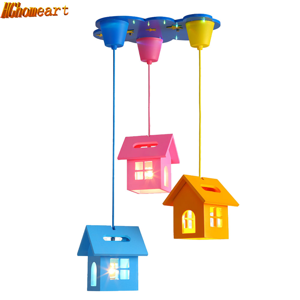 Simple Cartoon Creative Small House Led Chandelier Children Room Warm Bedroom Beautiful and Lovely Lighting house beautiful 500 bathroom ideas