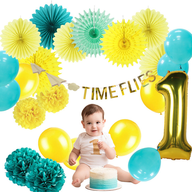 1st Birthday First Boy Party Decoration 24pcs Set Airplane Clouds Time Flies Hanging Banner Number Balloons Foil Ballon