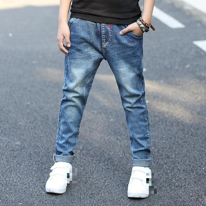 все цены на Spring Kids Jeans 2018 Teenagers Baby Boy Ripped Jeans For Boys 5 6 7 8 9 10 11 12 13 14 15 Years Denim Trousers Clothes