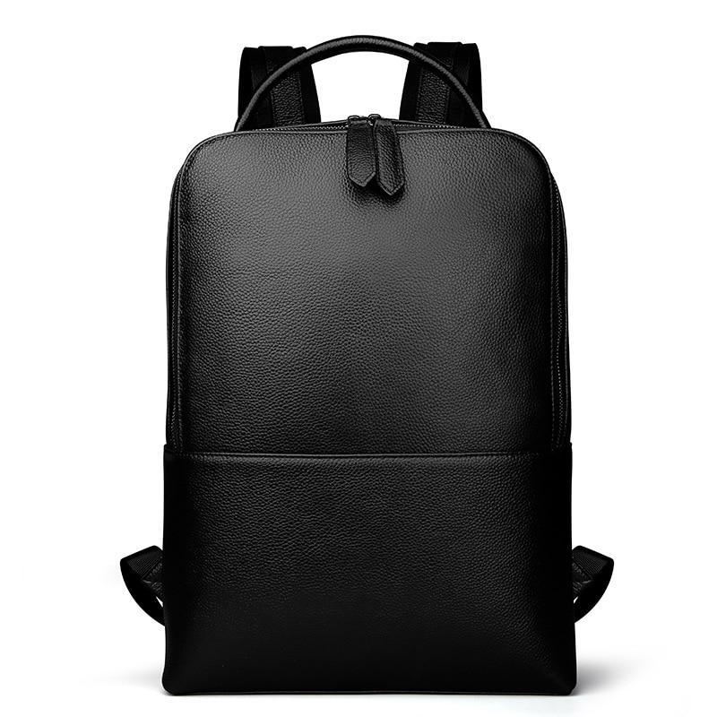 Homme femme sac à dos en cuir véritable grande capacité mode ordinateur sacs Softback homme affaires voyage femme Bolsa adolescent cadeau
