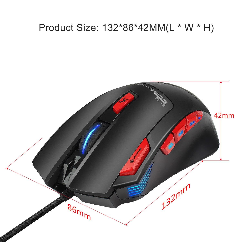 Hongsund Programmable Gaming Mouse 9 key illuminable mouse up to 6000 dpi RGB Backlit USB Wired Optical Gamer 9