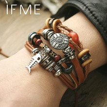 IF ME Vintage Pendent Fish Leather Bracelet For Men Multiple Layer Beads Braided Bracelets Fashion Wristband Boyfriend Jewelry(China)